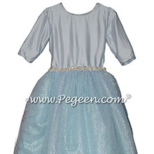 Cloud Blue Silk and Tulle flower girl dressses