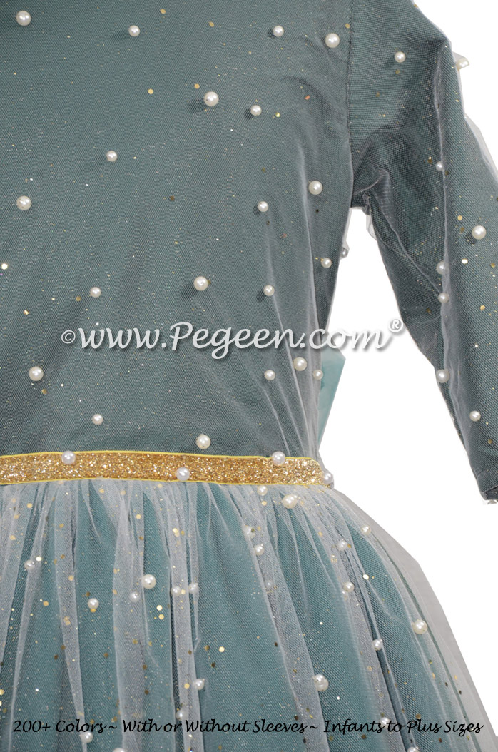 Long Sleeve Green Jr Bridesmaids Dress with Pearls and Glitter