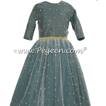 Long Sleeve Forest Green Jr Bridesmaids Dress with Pearls and Glitter