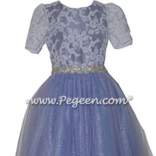 Periwinkle, Lace and Rhinestone Bling tulle jr. bridesmaids dress | Pegeen