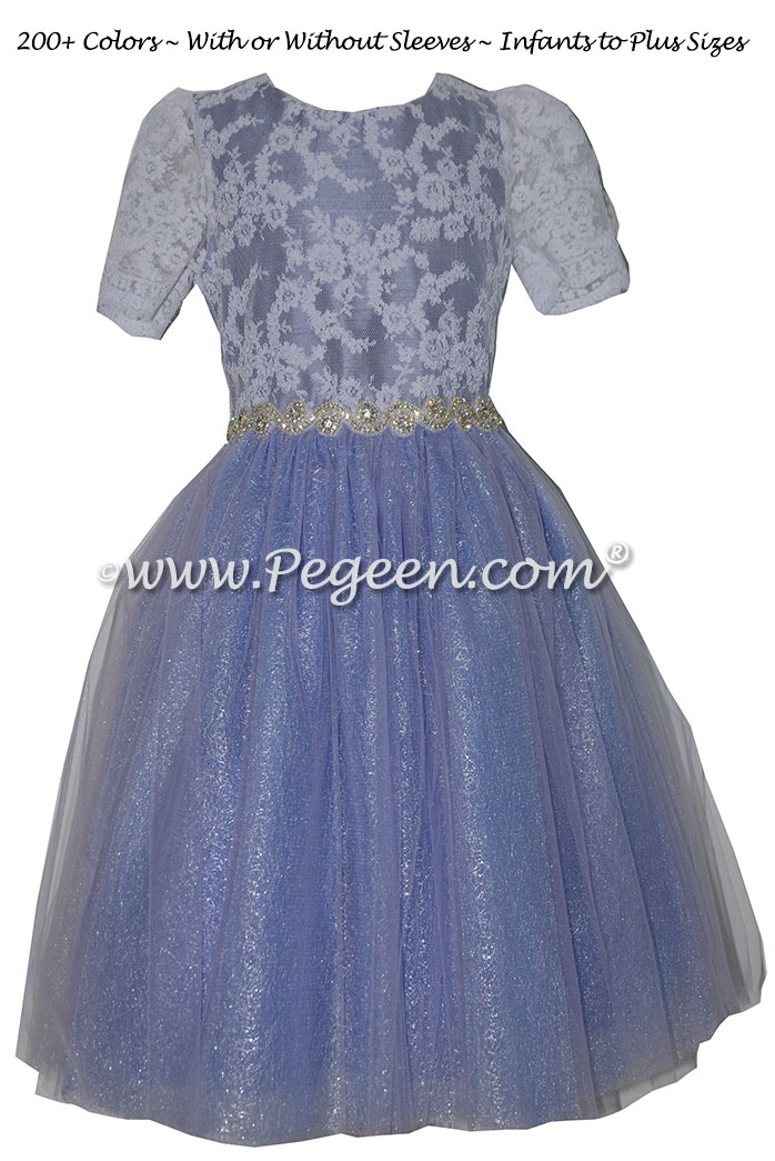 Periwinkle, Lace and Rhinestone Bling tulle jr. bridesmaids dress
