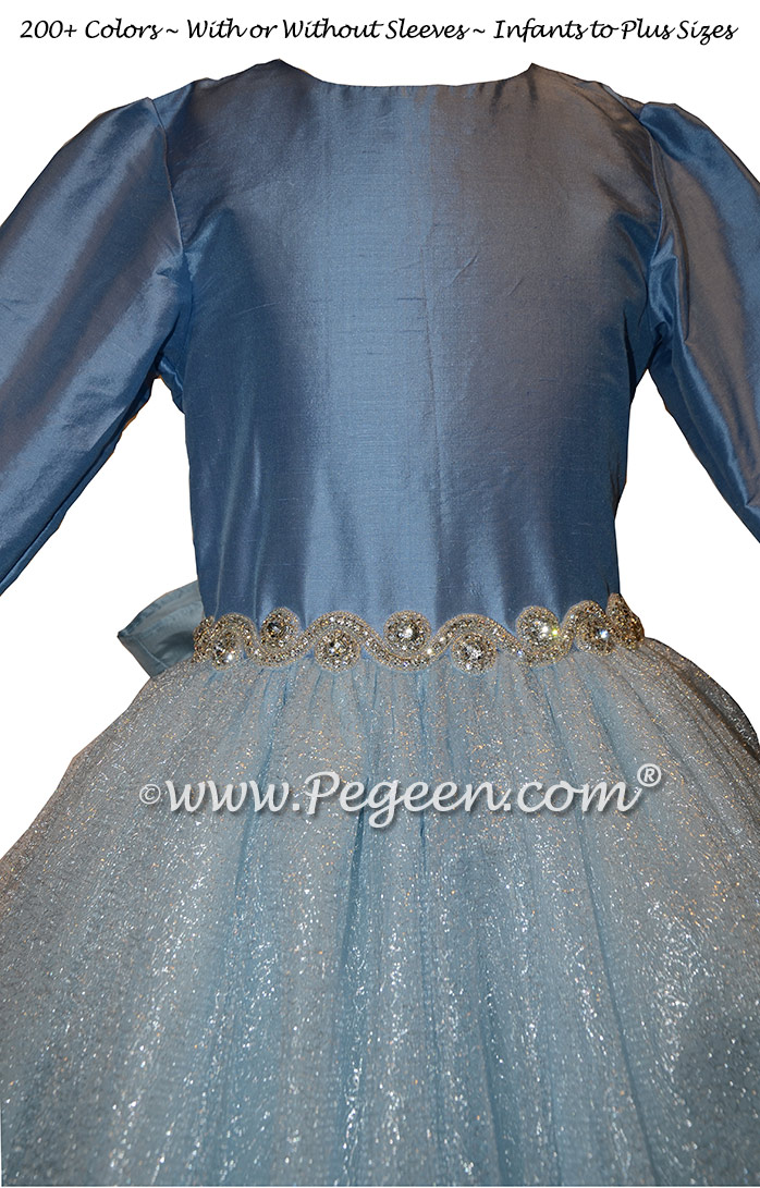 Blue Moon and Rhinestone Bling Belt with tulle flower girl dresses
