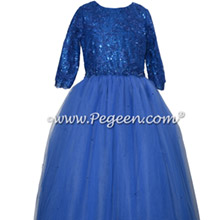 Sequins and Swarovski Crystal Sapphire Tulle Bat Mitzvah Dress