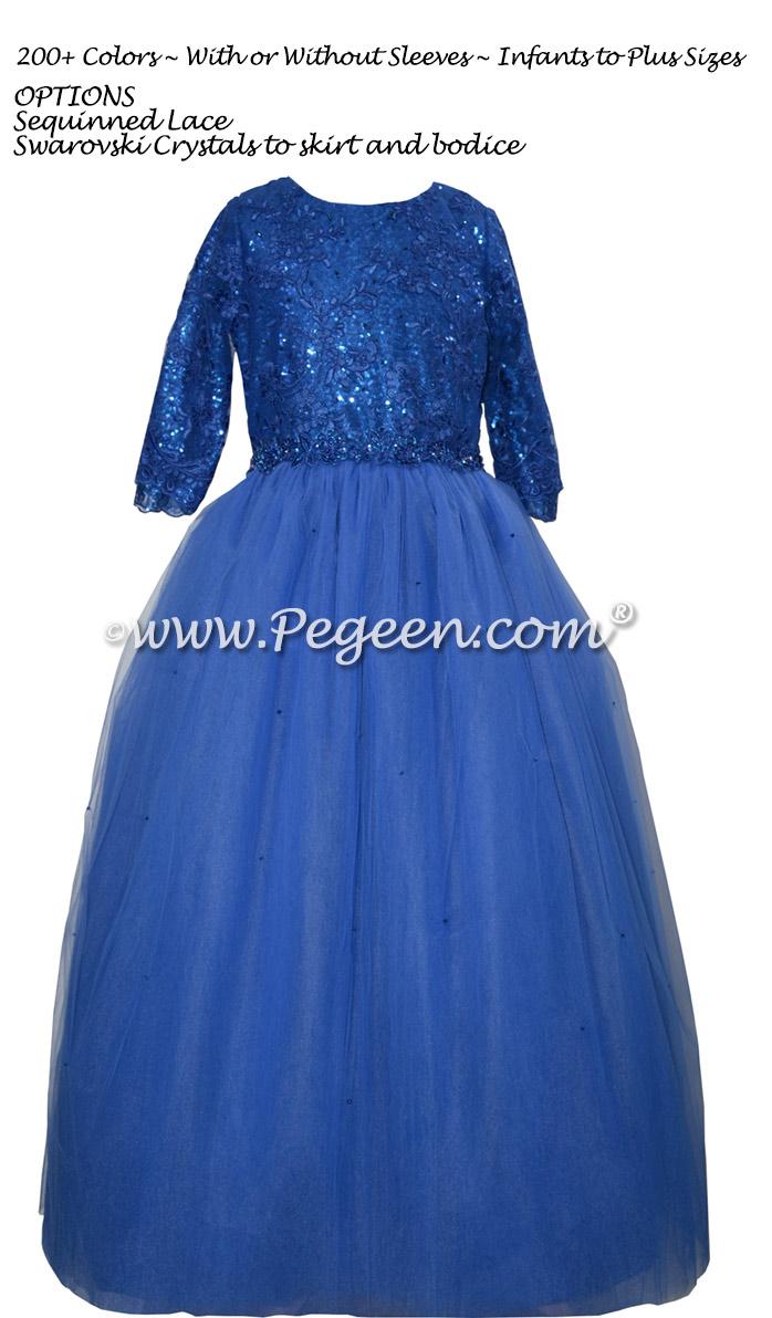 Sequins and Swarovski Crystal Sapphire Tulle Bat Mitzvah Dress