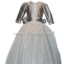Custom tulle silk Jr. Bridesmaids dresses in Silver Gray Style 931