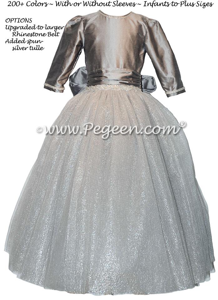 Medium Gray and Rhinestone Bling Belt with tulle flower girl dresses