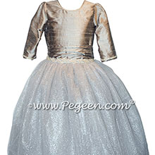 Silver silk and rhinestone silk tulle flower girl dress with 3/4 sleeves