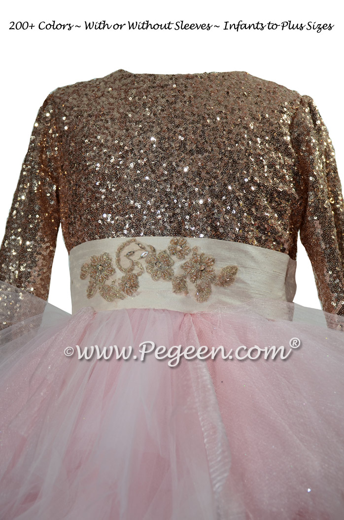 Rose Gold Sequin & Tulle Bat Mitzvah Dress