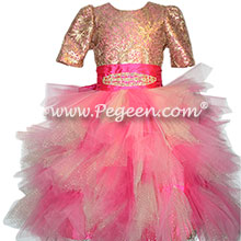 Hot Pink and Gold Jr Bridesmaid or Bat Mitzvah Dress
