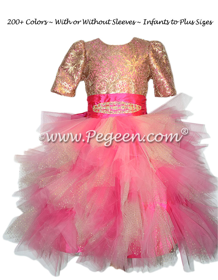 Hot Pink and Gold and Sequins Handkerchief Tulle Skirt Style 934 | Pegeen