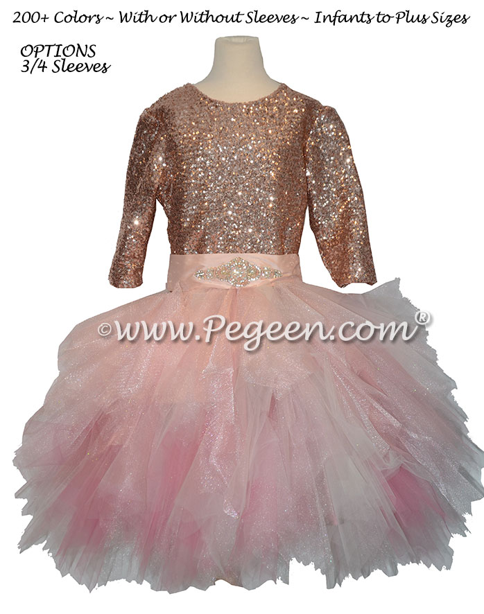 Rose Gold Sequin bodice Jr Bridesmaids Tulle Skirt Style 934 | Pegeen