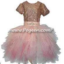 Rose Gold Sequins and Tulle Jr Bridesmaids dresses for Jewish Wedding
