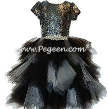 Black, Silver and Sequins Handkerchief Tulle Skirt Style 934
