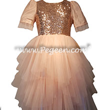 Rose Gold Sequins and Tulle flower girl dresses