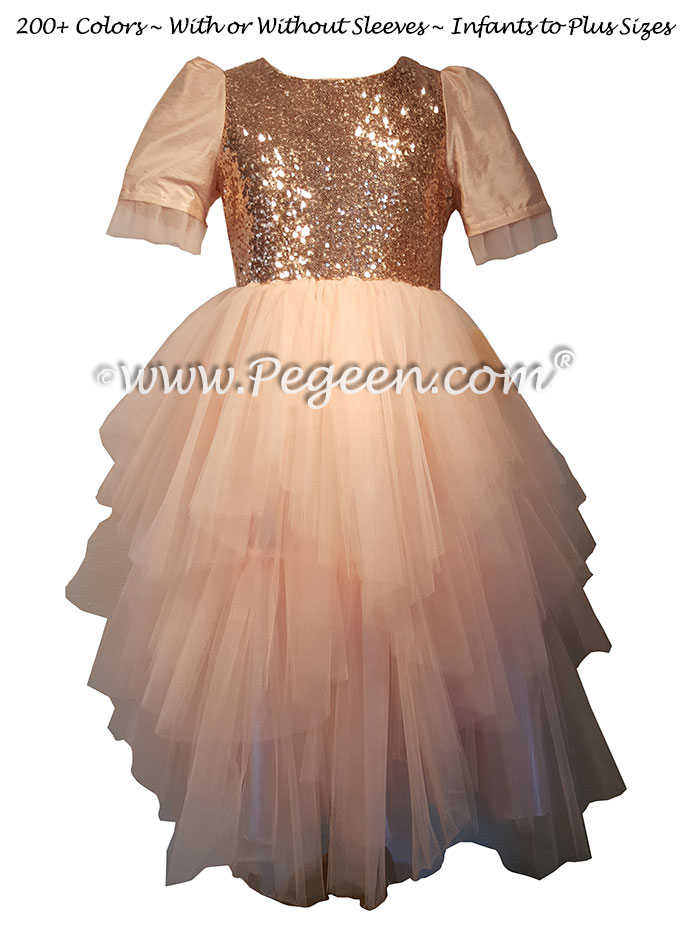 Rose Gold Sequins and Tulle silk flower girl dress for Jewish Wedding | Pegeen