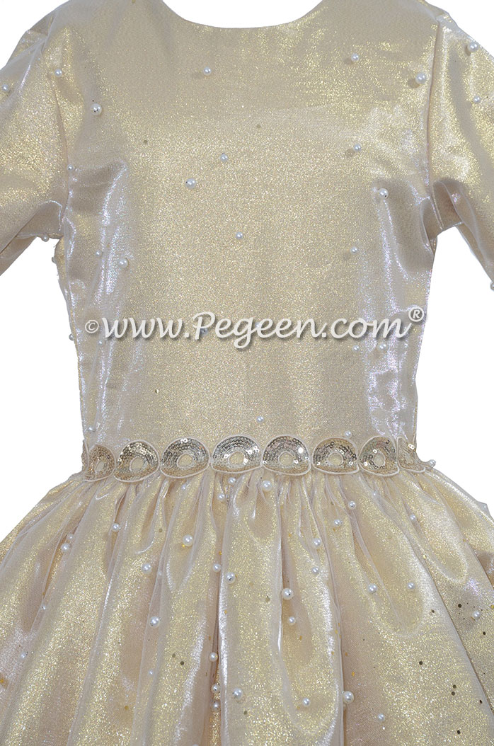 3/4 Sleeve with Gold Lame High Lo Skirt Bat Mitzvah Dress