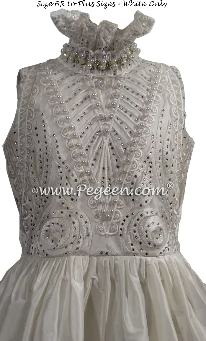White Pearled Bodice First Communion Dresses Style 960