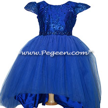 Custom Silk Sapphire Jr Bridesmaids Dress with High-Low Hem