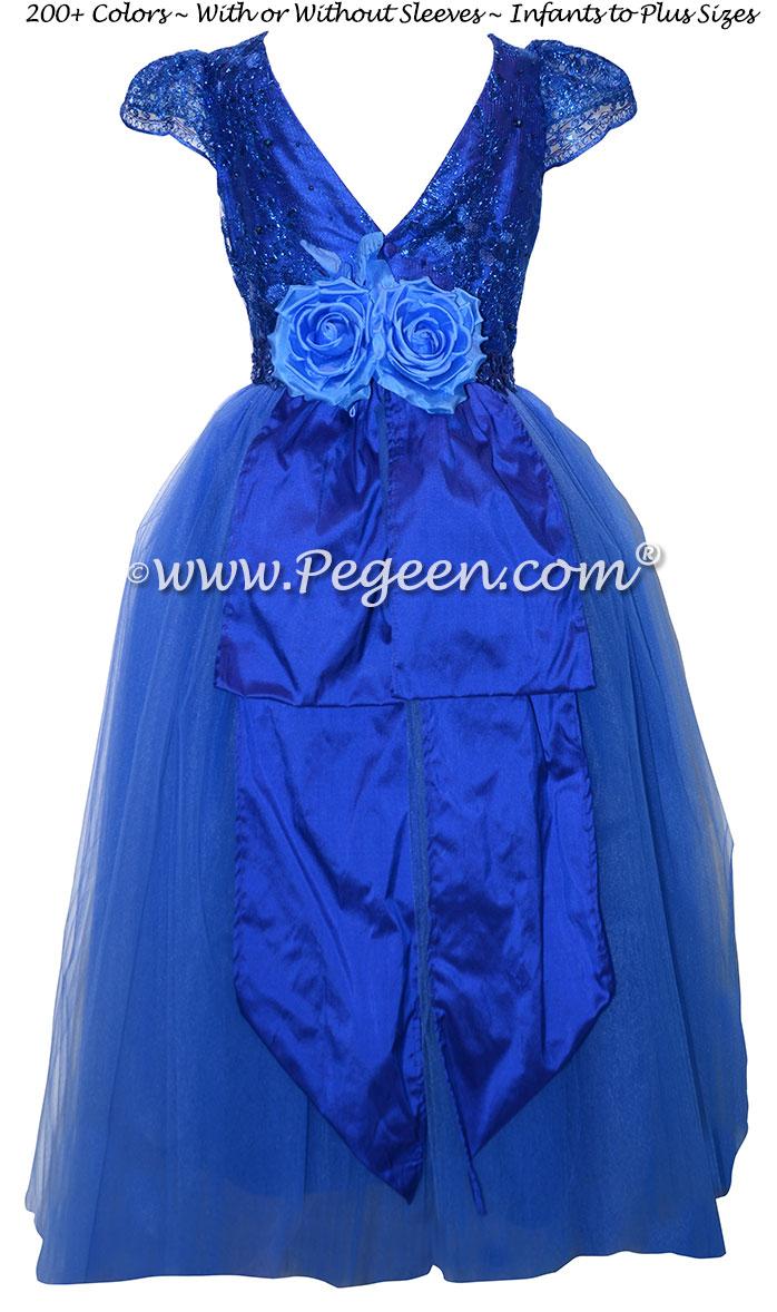 Sapphire Blue Aloncon Lace High Low Skirt - Jr Bridesmaids Dress