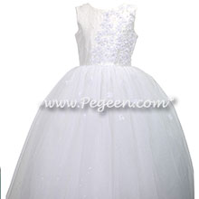 White Silk First Communion Dress with flowers and crystals