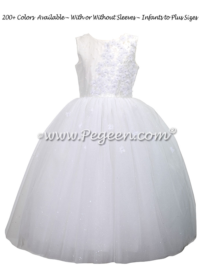 White Silk First Communion Dress with flowers and crystals Style 970