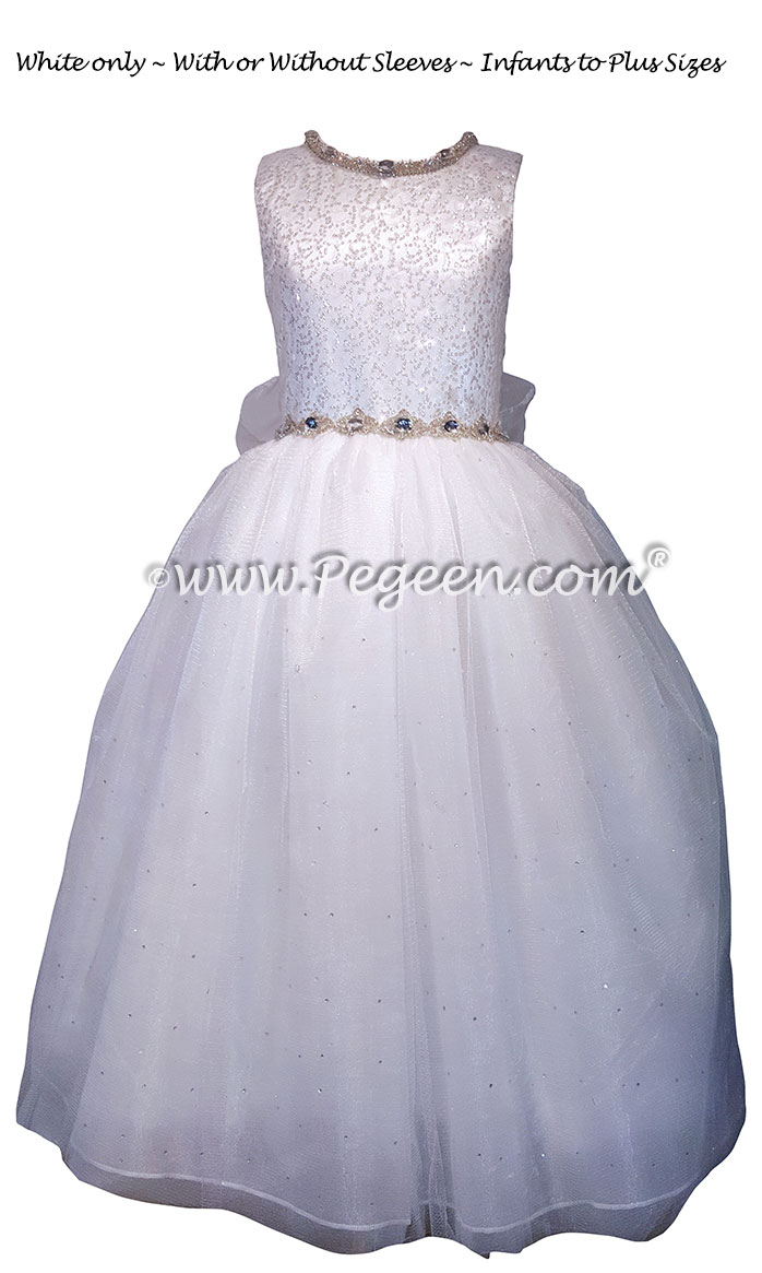 Sequinned Silk First Communion Dress Style 977