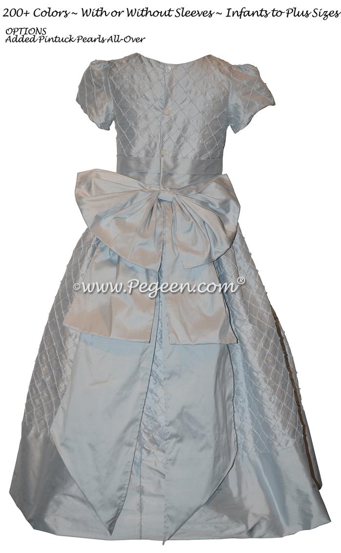 Baby Blue Pin Tucks and Pearls Custom Silk Flower Girl Dress