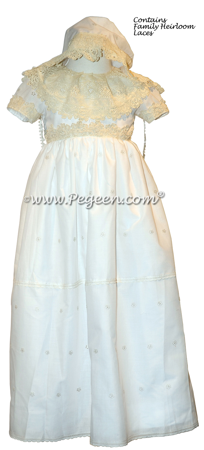Antique Laces and Custom Embroidered Christening Gown | Pegeen