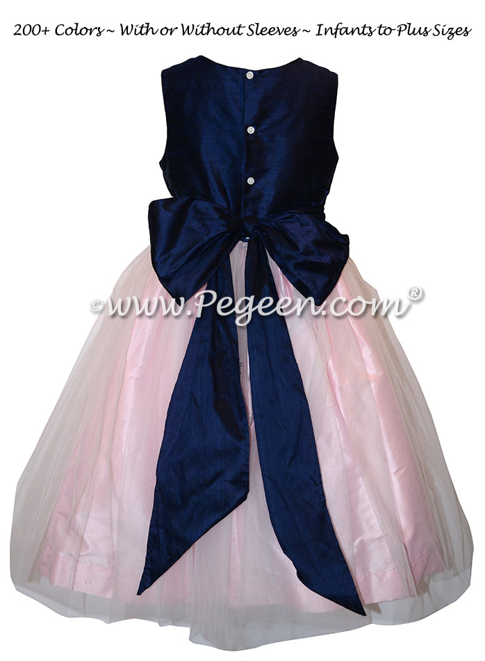 Navy and Pink flower girl dress with navy tulle Style 356