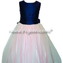 Navy and Hibiscus Pink flower girl dress with navy tulle Style 356