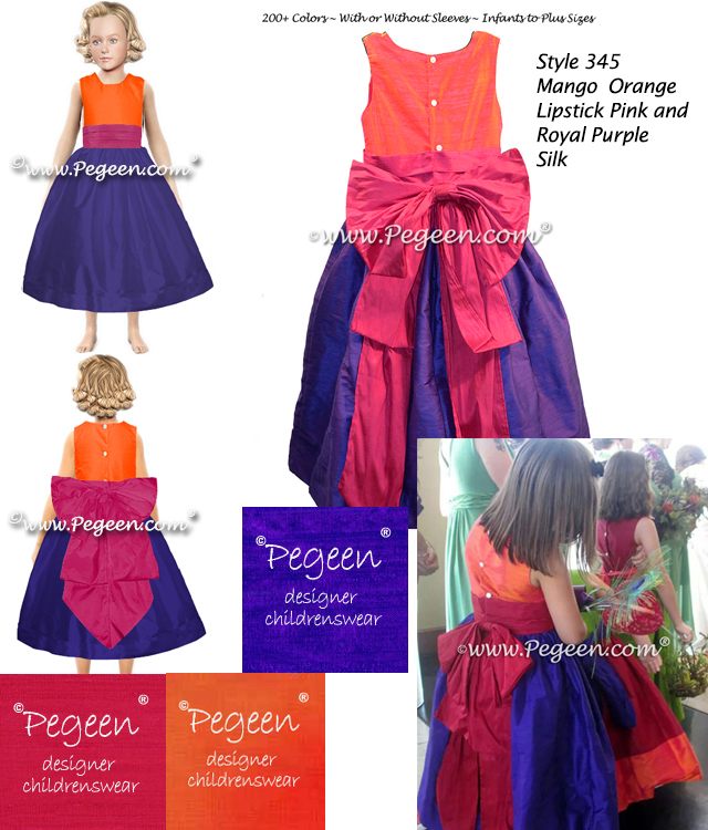 Flower girl dress in bright multiple shades of silk, orange, pink, purple and green