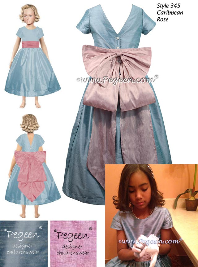 Flower girl dress in Caribbean blue and rose pink
