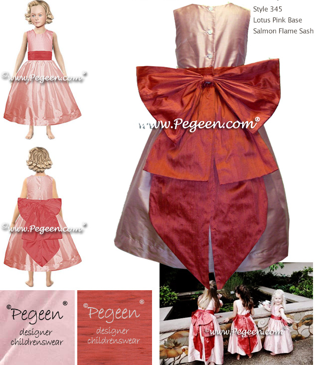 Coral and pink silk flower girl dress with Cinderella Sash