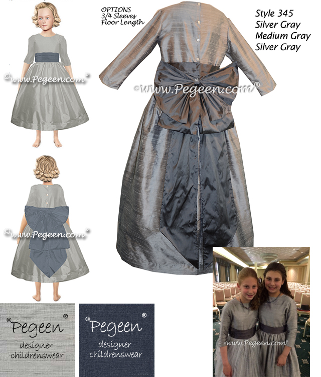 Flower girl dress in medium gray and silver with 3/4 sleeves