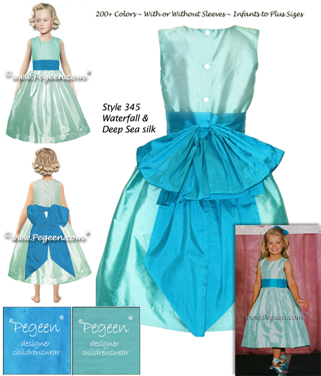 Pageant dress in shades of teal silk