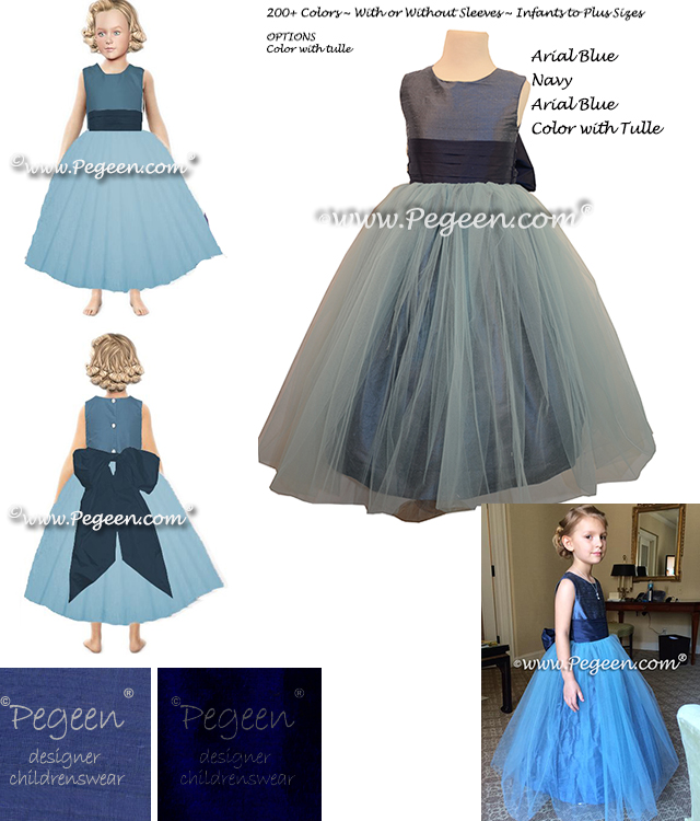 Flower girl dresses storm blue, navy and arial