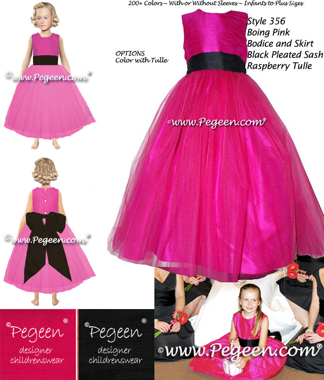 Flower girl dresses in  raspberry hot pink and black silk