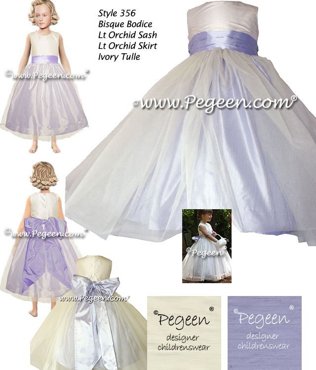 Lilac and ivory silk flower girl dresses with tulle skirt
