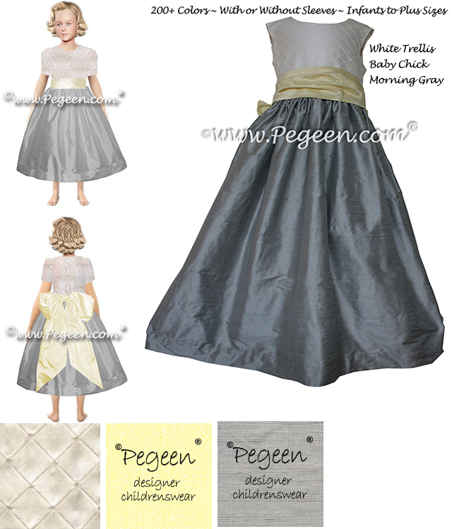 Yellow and Gray silk custom flower girl dress - Pegeen Classic Style 357