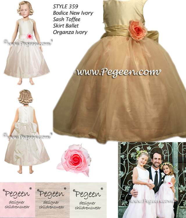 Blush Pink silk flower girl dress style 359 from Pegeen Classics
