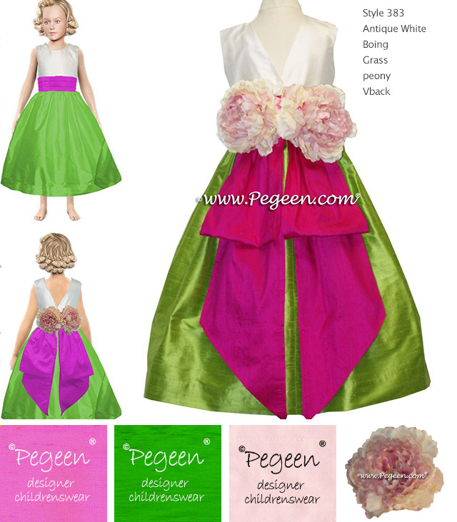 Hot pink and green flower girl dress Style 383 V-Back