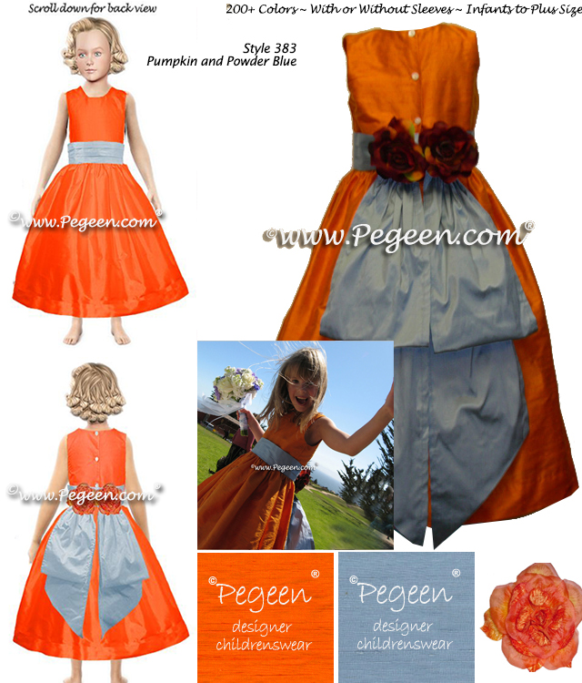 Tangerine Orange and Powder Blue Silk Custom Flower Girl Dress Style 383