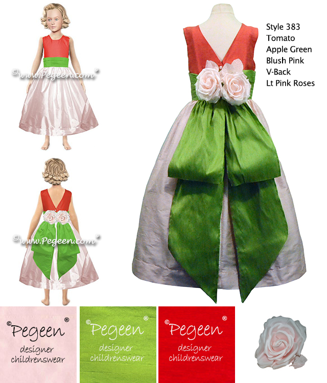 Tomato Red, Apple Green and Light Pink Silk flower girl dresses