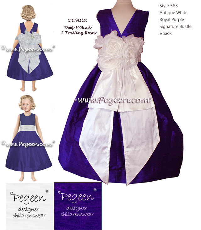 Pegeen flower girl dress blog purple and white silk flower girl purple and white silk flower girl dresses with pegeen signature bustle mightylinksfo