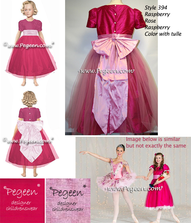 Raspberry pink and Rose Pink Silk and Tulle Clara Costume