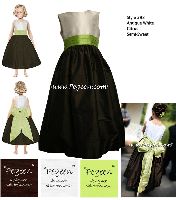 Semi-Sweet Chocolate brown and Citrus green flower girl dress