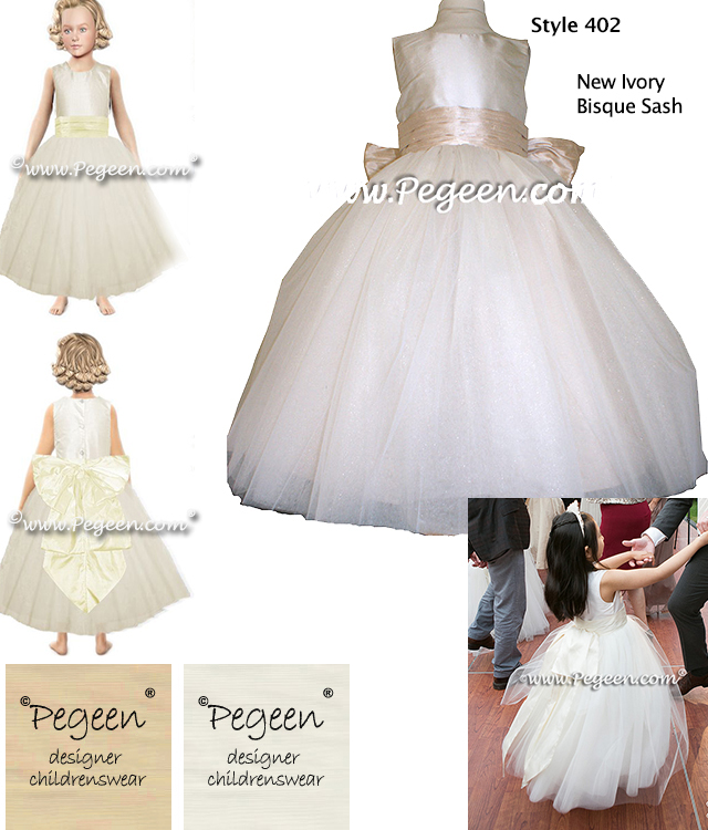 Ivory and creme silk and tulle custom flower girl dress