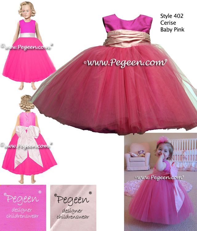Flower girl dresses in  cerise pink and cotton candy silk