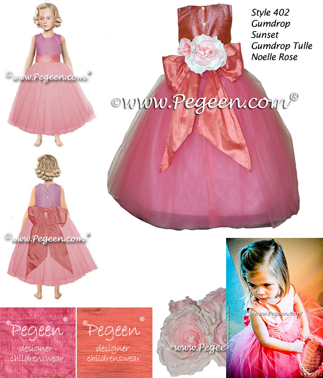 Coral shades of custom silk for these 2012 Flower Girl Dress of the Year Winners