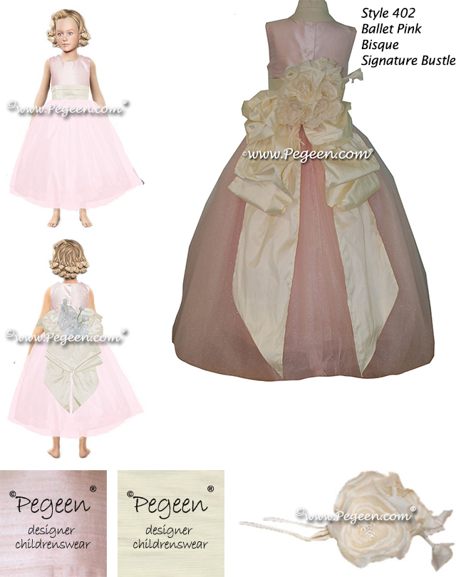 Style 402 Flower Girl Dress in Ballet Pink and Bisque with a Signature Bustle
